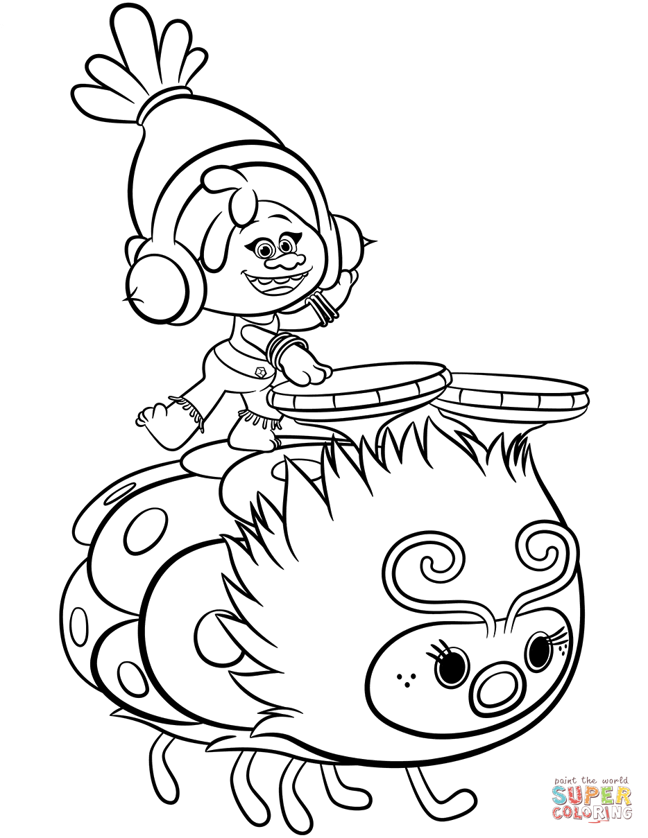 Dj Suki From Trolls Coloring Page Free Printable Coloring Pages