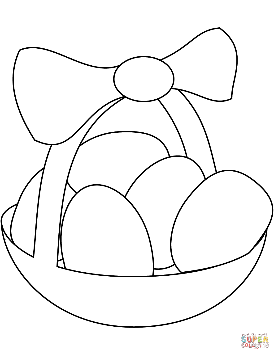 Easter Basket With Eggs Coloring Page