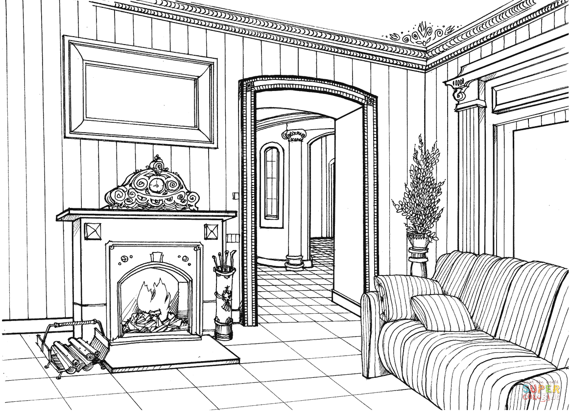 Fireplace Room Coloring Page