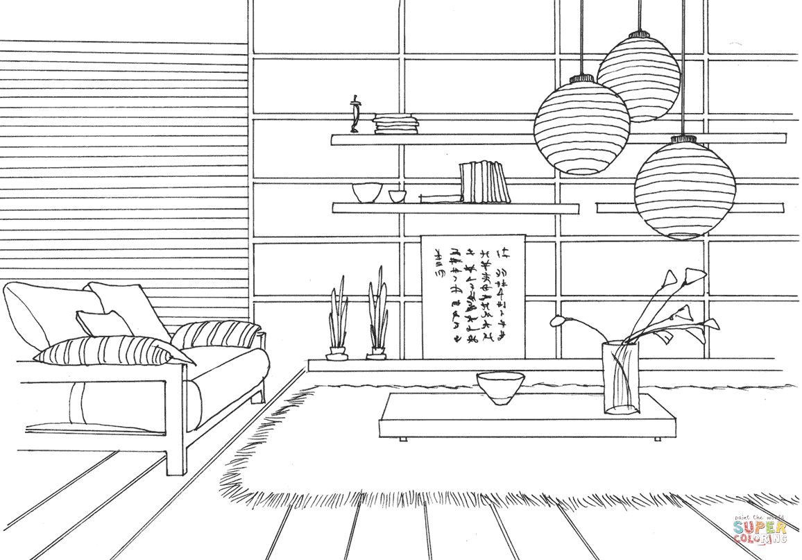 Japanese Style Room Coloring Page