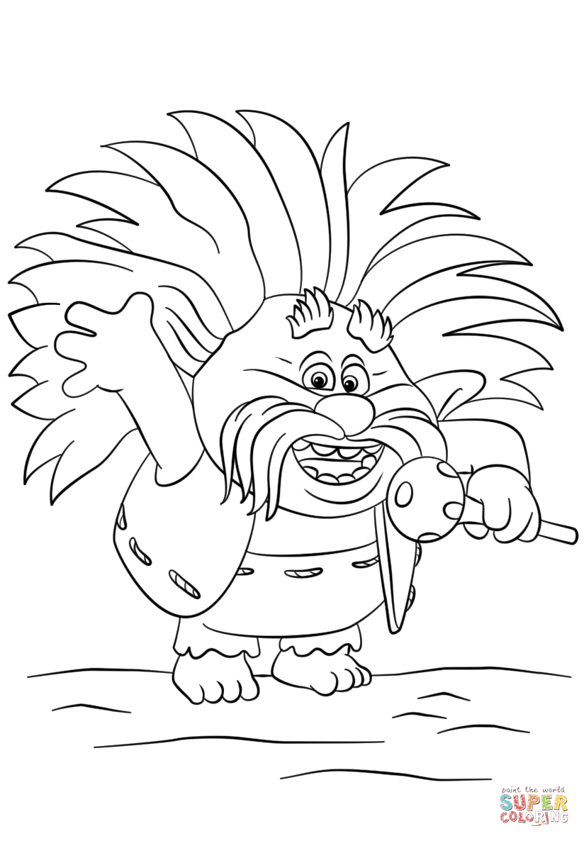 King Peppy From Trolls Coloring Page Free Printable