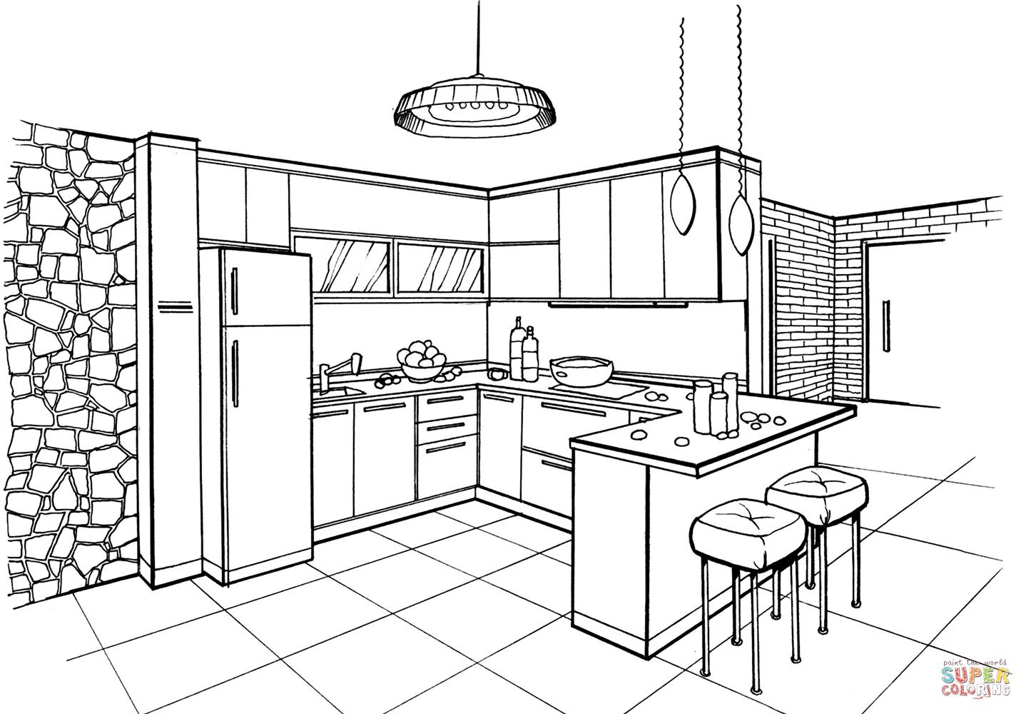 Dibujo De Cocina En Estilo Minimalista Para Colorear