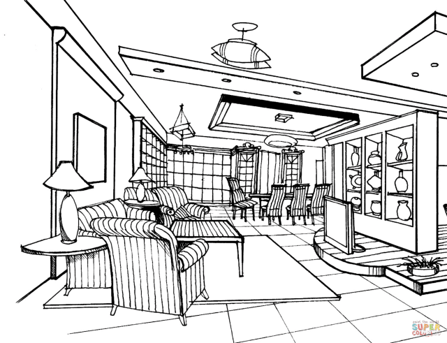 Large Living Room coloring page  Free Printable Coloring Pages