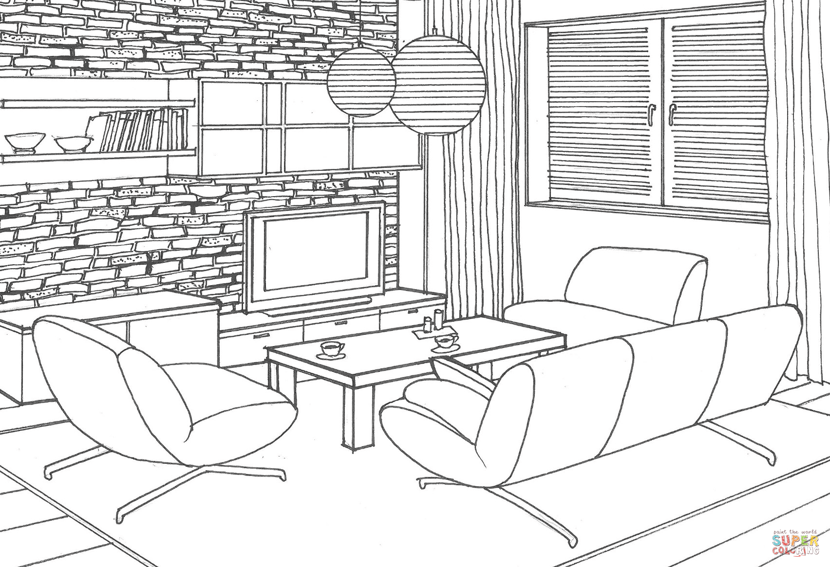 Stone Wall In The Living Room Coloring Page