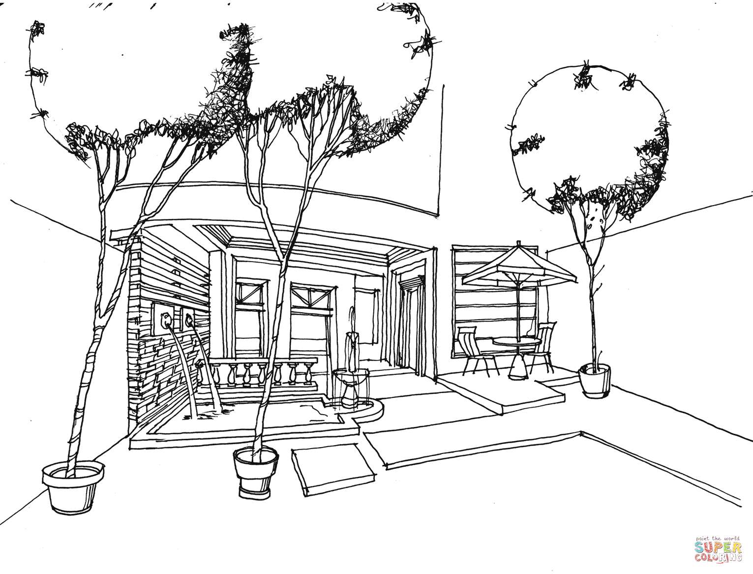 Terrace And Winter Garden Coloring Page