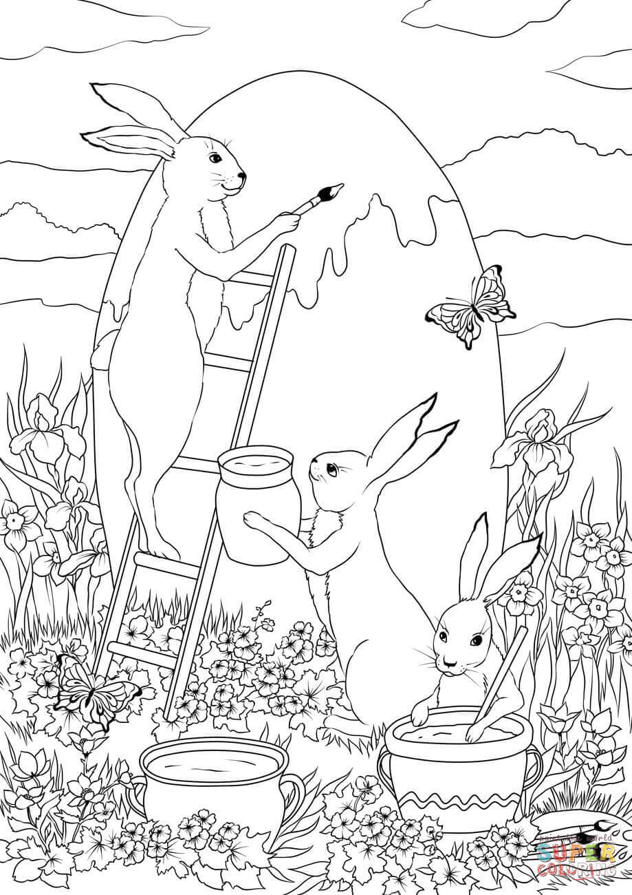 Bunny Coloring Eggs Rabbits Pages