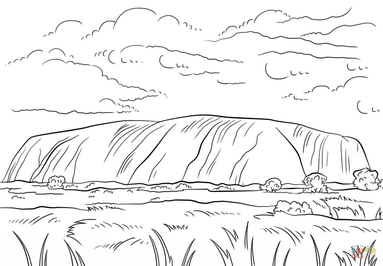 Uluru Ayers Rock Coloring Page