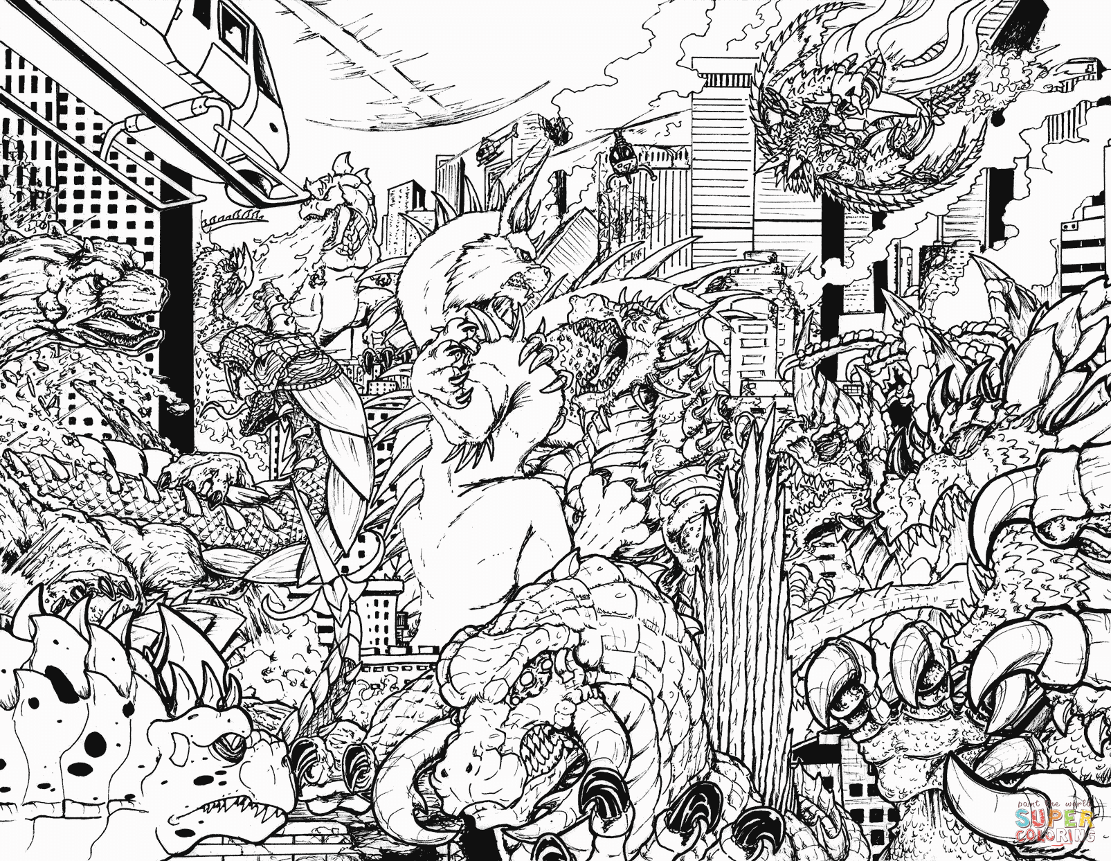 When Kaiju Worlds Collide 4 Coloring Page