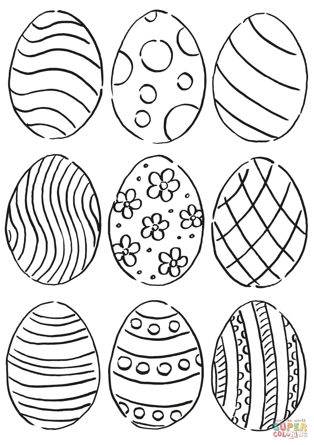 Easter Eggs Pattern Coloring Page