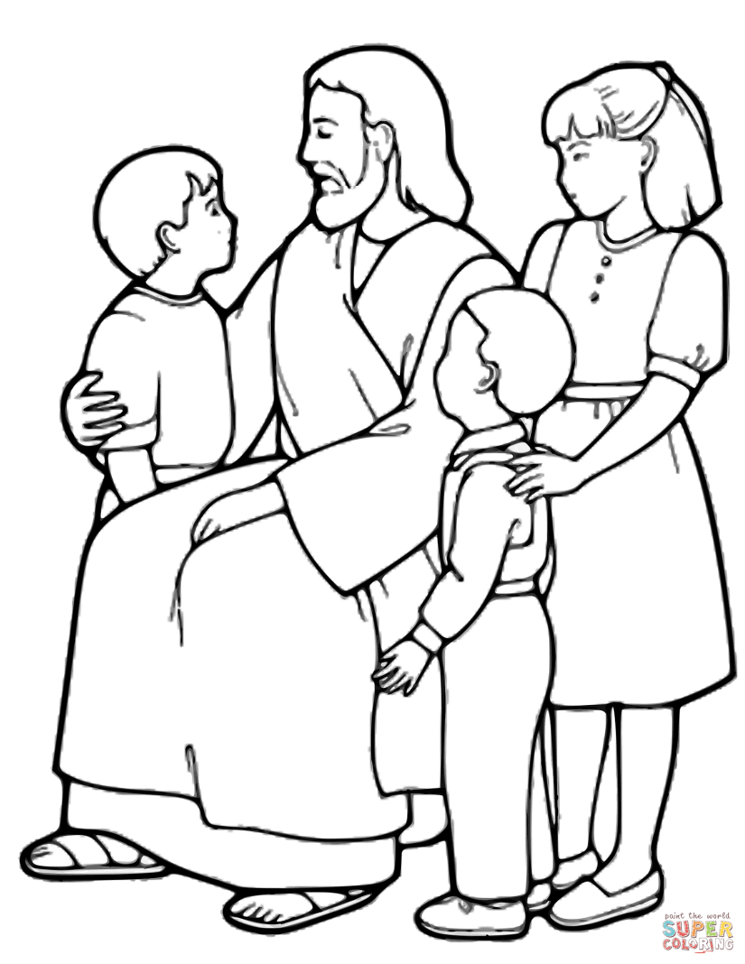 the little children and jesus coloring page | free printable