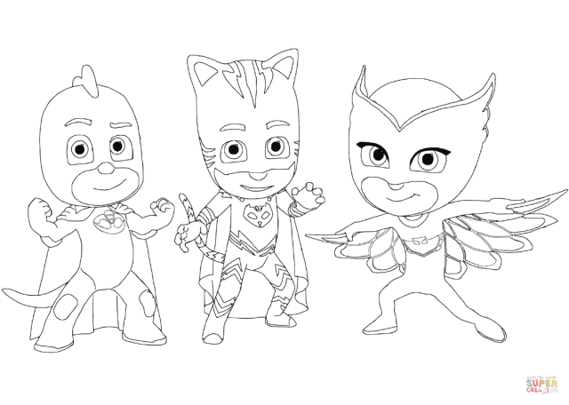 Gecko, Catboy and Owlette coloring page  Free Printable Coloring