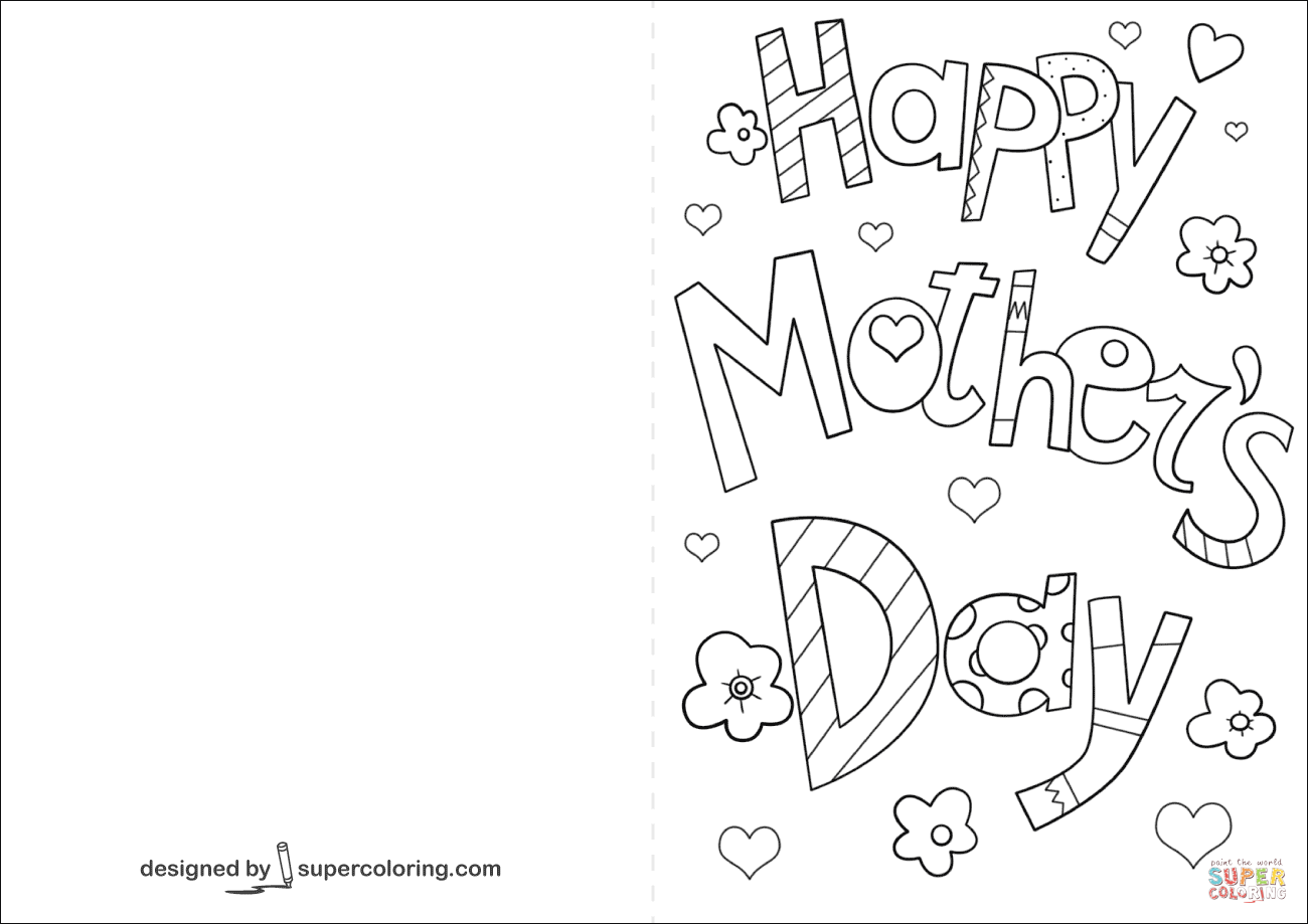 Happy Mother S Day Card Coloring Page