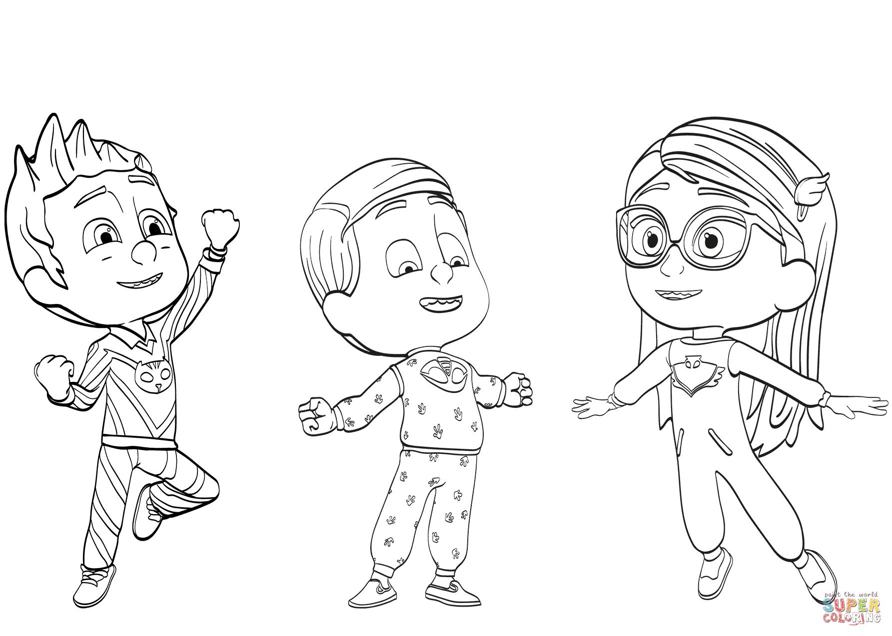 Pj Masks Pajama Heroes Coloring Page
