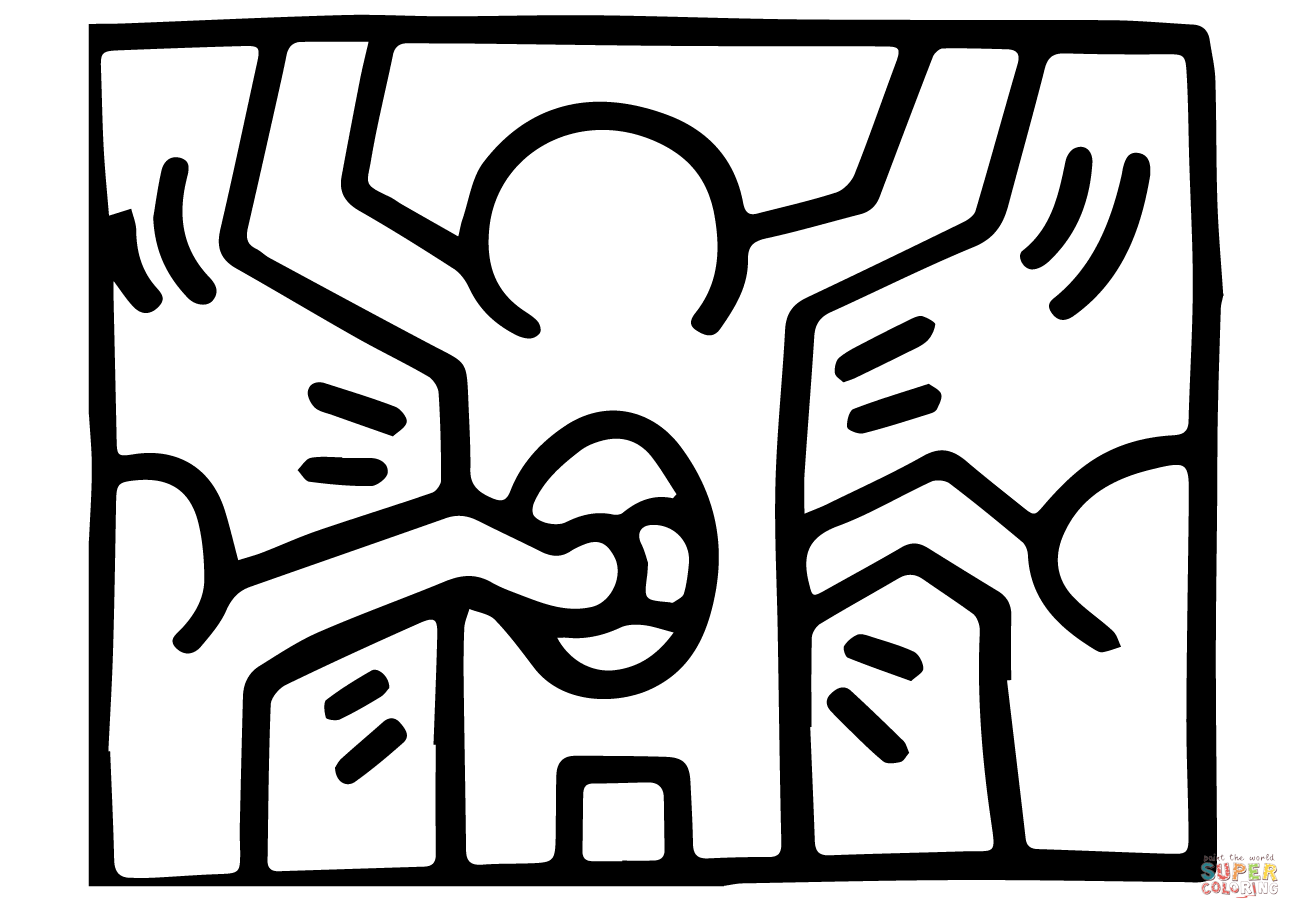 Funky Keith Haring Coloring Pages Composition Coloring Pages