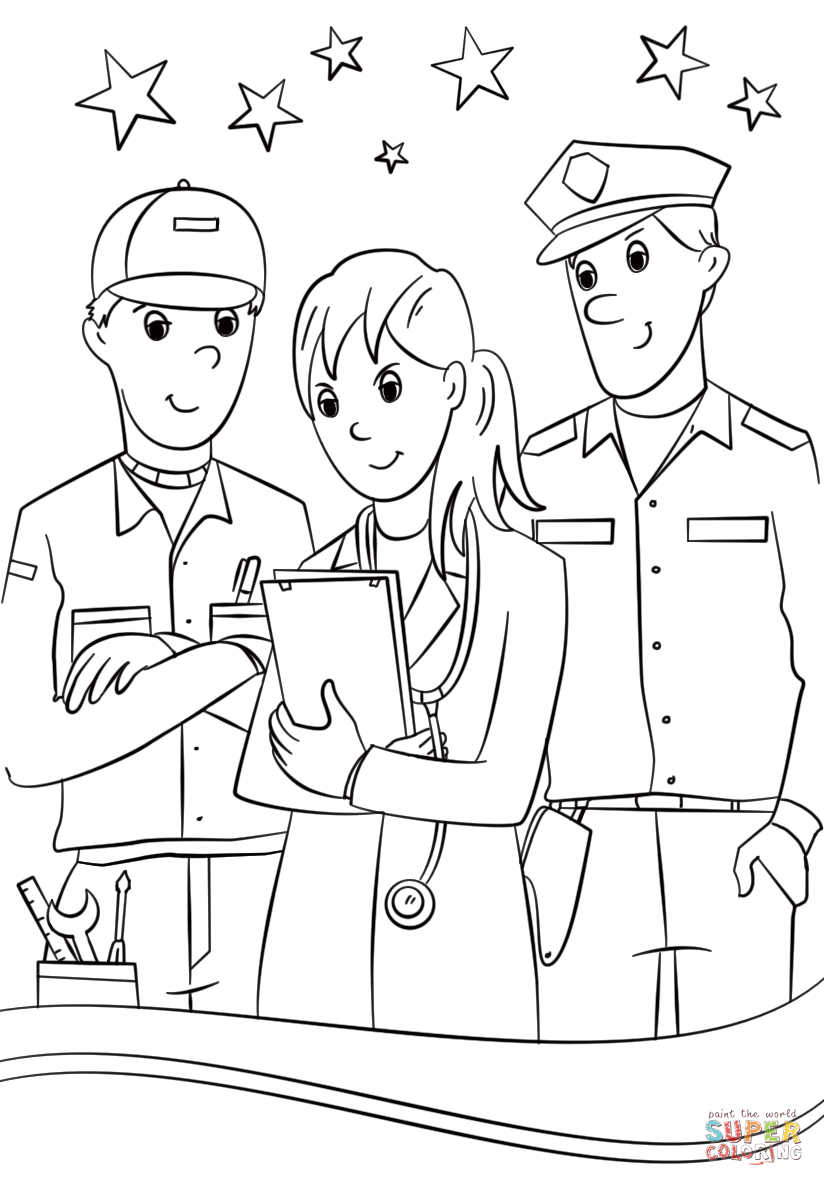 Munity Helpers Coloring Page Free Printable Coloring Pages