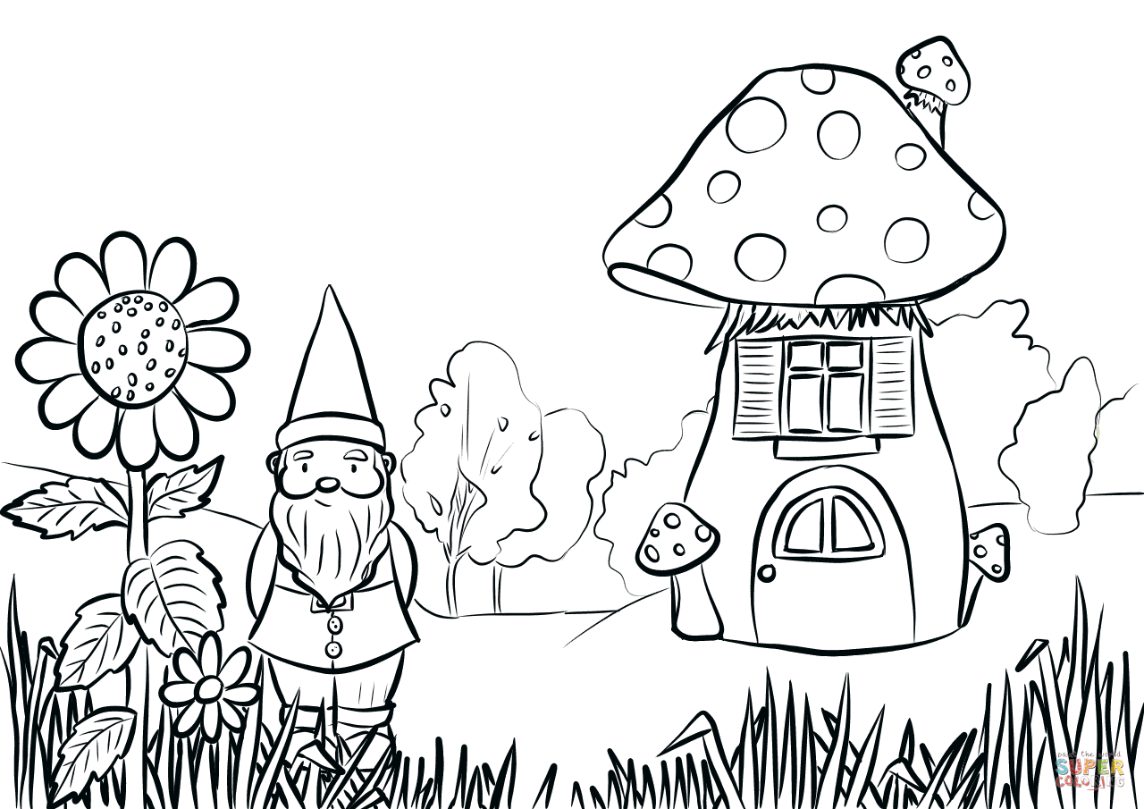 Gnome In The Garden Coloring Page