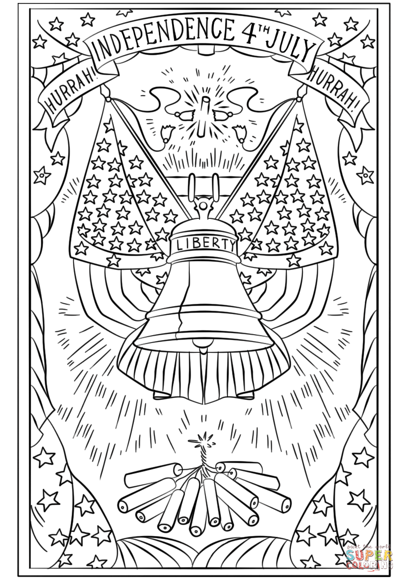 Hurrah Independence 4th July Postcard Coloring Page