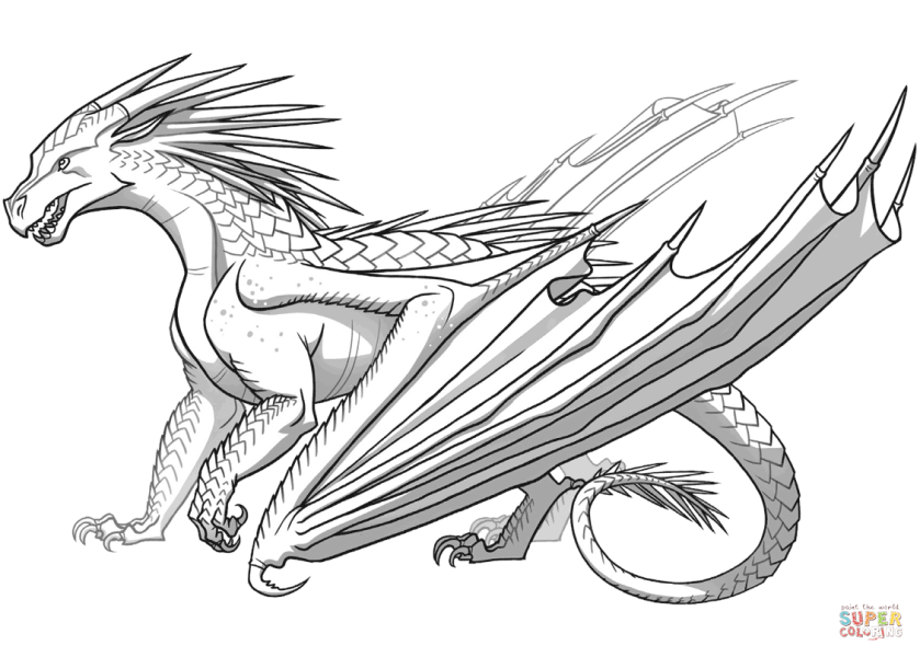 icewing dragon from wings of fire coloring page  free