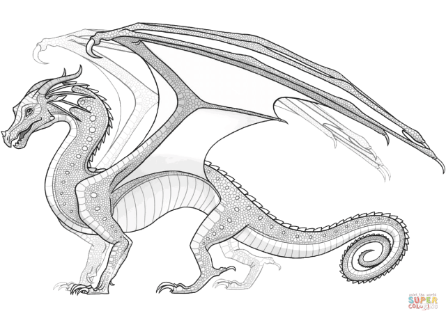 Rainwing Dragon from Wings of Fire coloring page  Free Printable