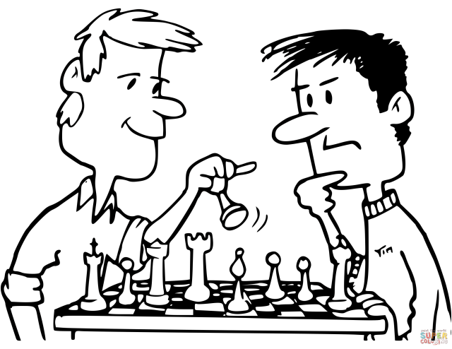 Friends Playing Chess coloring page  Free Printable Coloring Pages