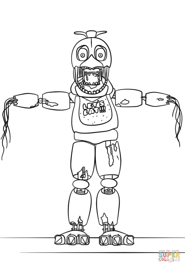 Fnaf withered foxy coloring pages