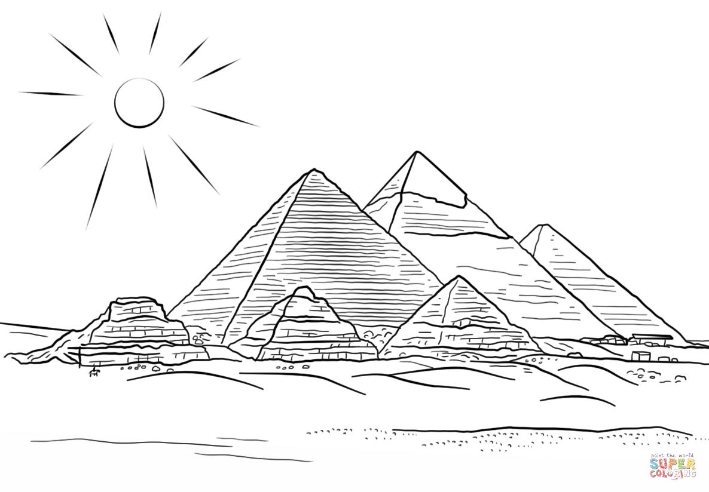Giza Pyramids Coloring Page
