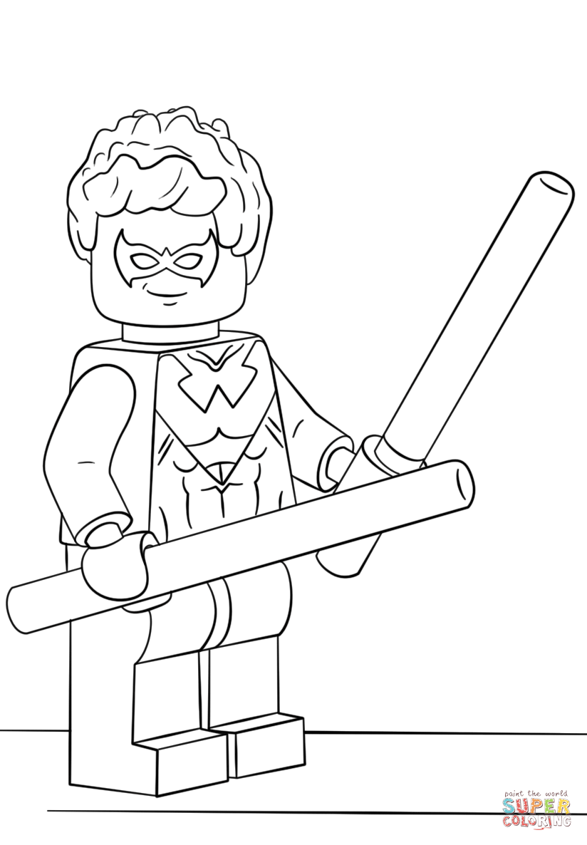Lego Nightwing Coloring Page Free Printable Coloring Pages