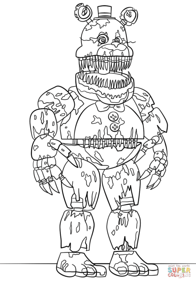 Nightmare Freddy coloring page  Free Printable Coloring Pages