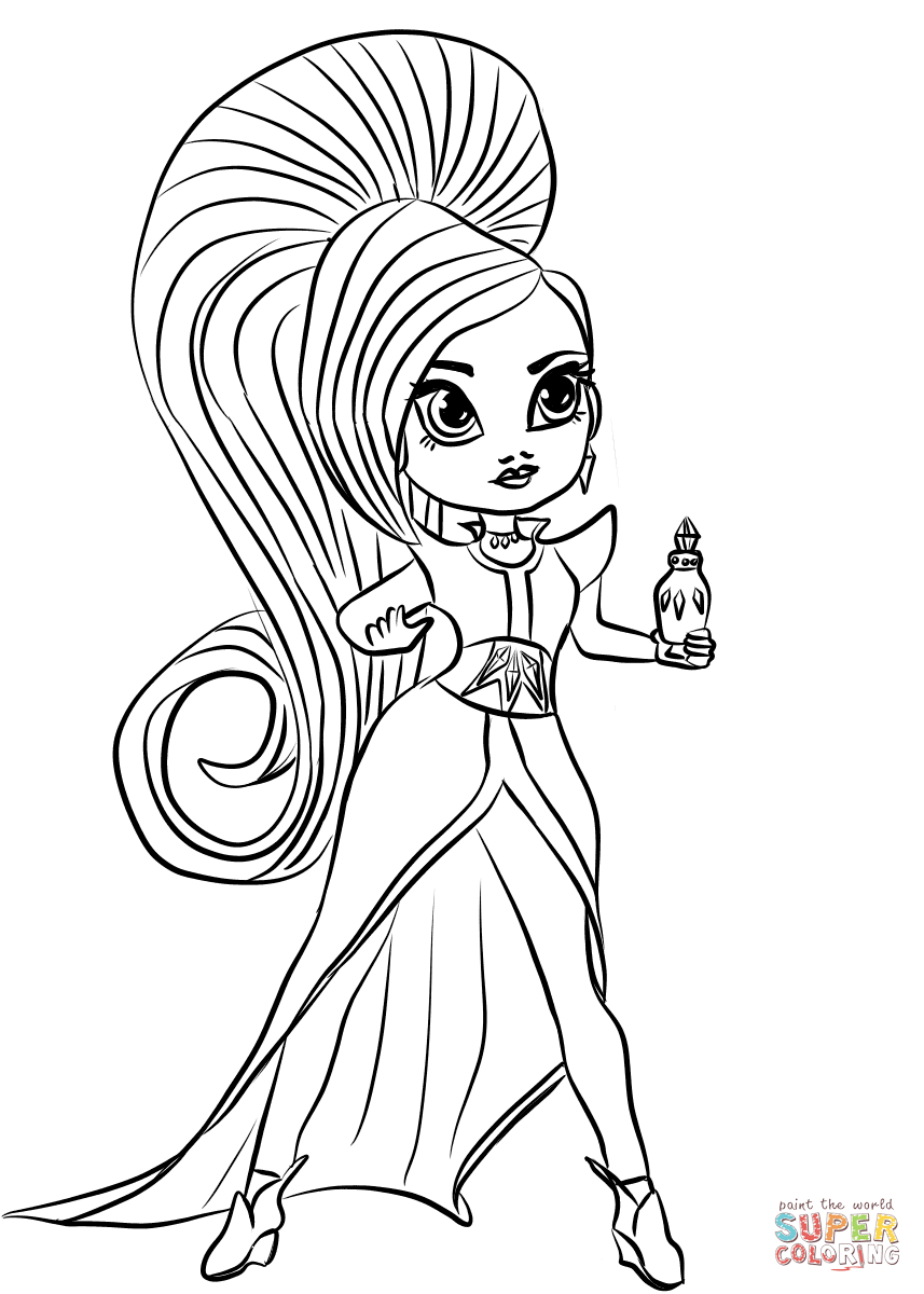 Shimmer And Shine Zeta The Sorceress Coloring Page Free