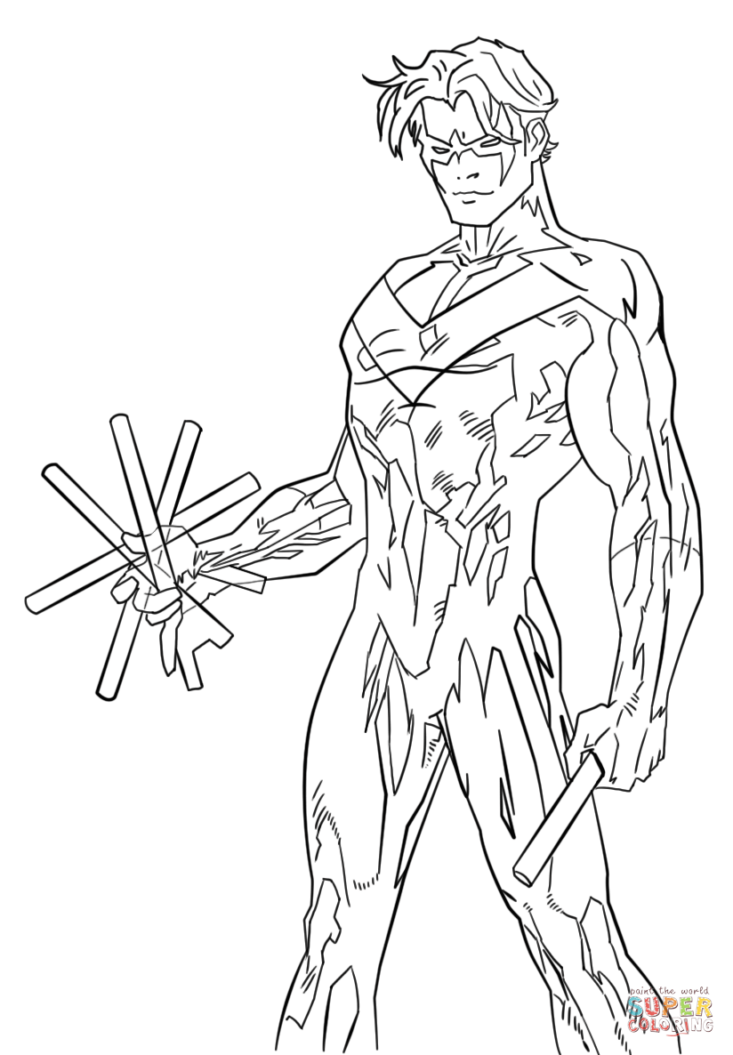 Young Justice Nightwing Coloring Page Free Printable Coloring Pages