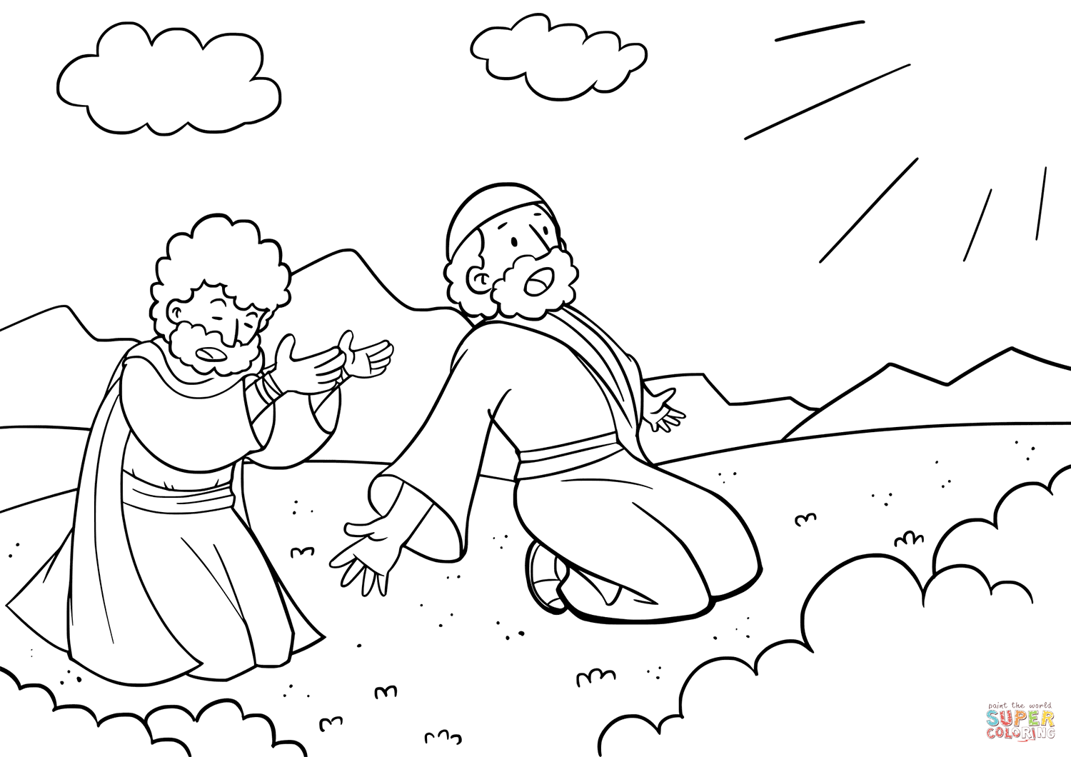 The Glory Of The Lord Appeared To Moses And Aaron Coloring