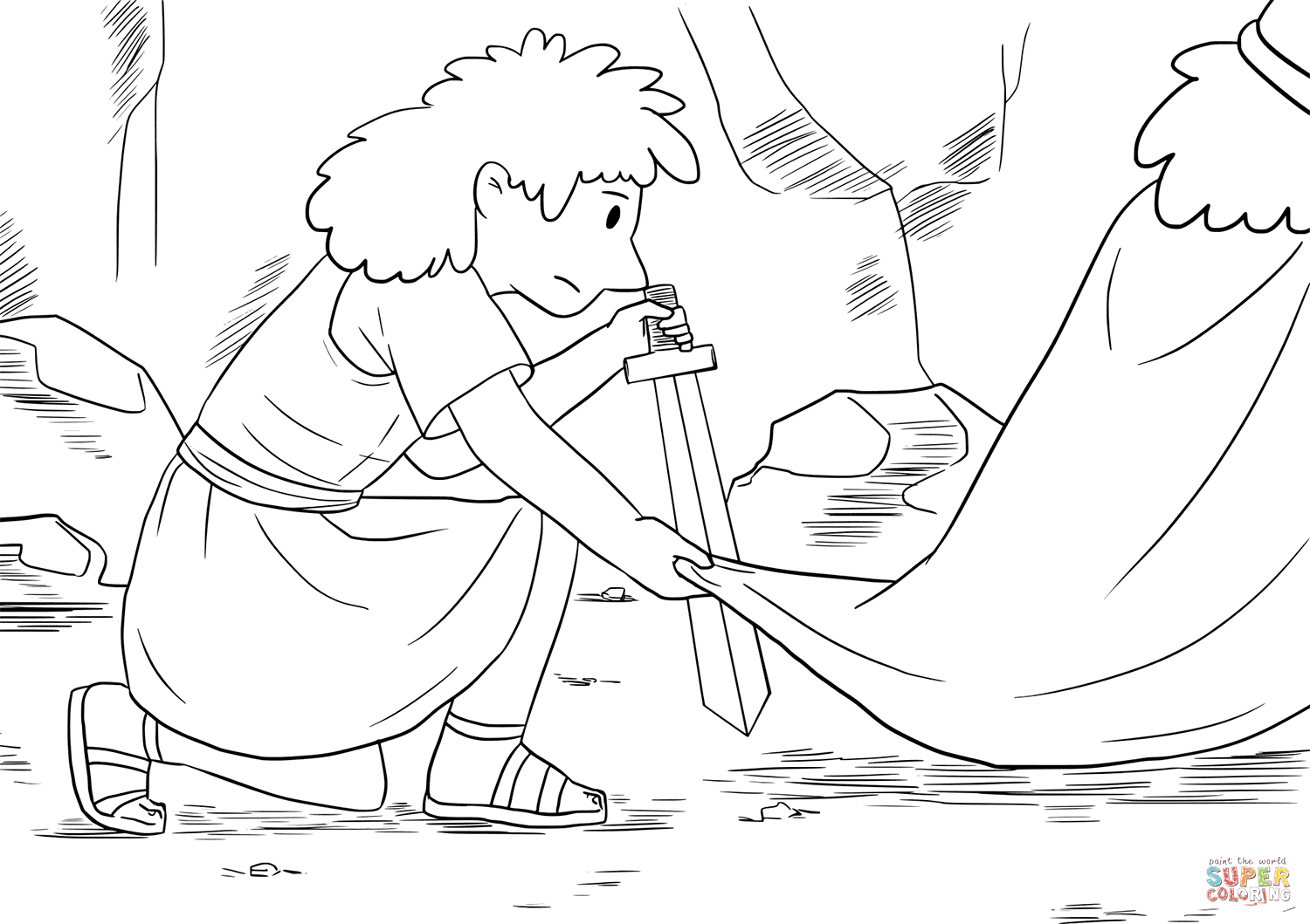 David Crept Up Unnoticed And Cut Off A Corner Of Saul S Robe Coloring Page