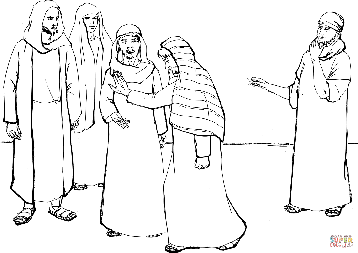 Peter Denies Jesus The Third Time Coloring Page