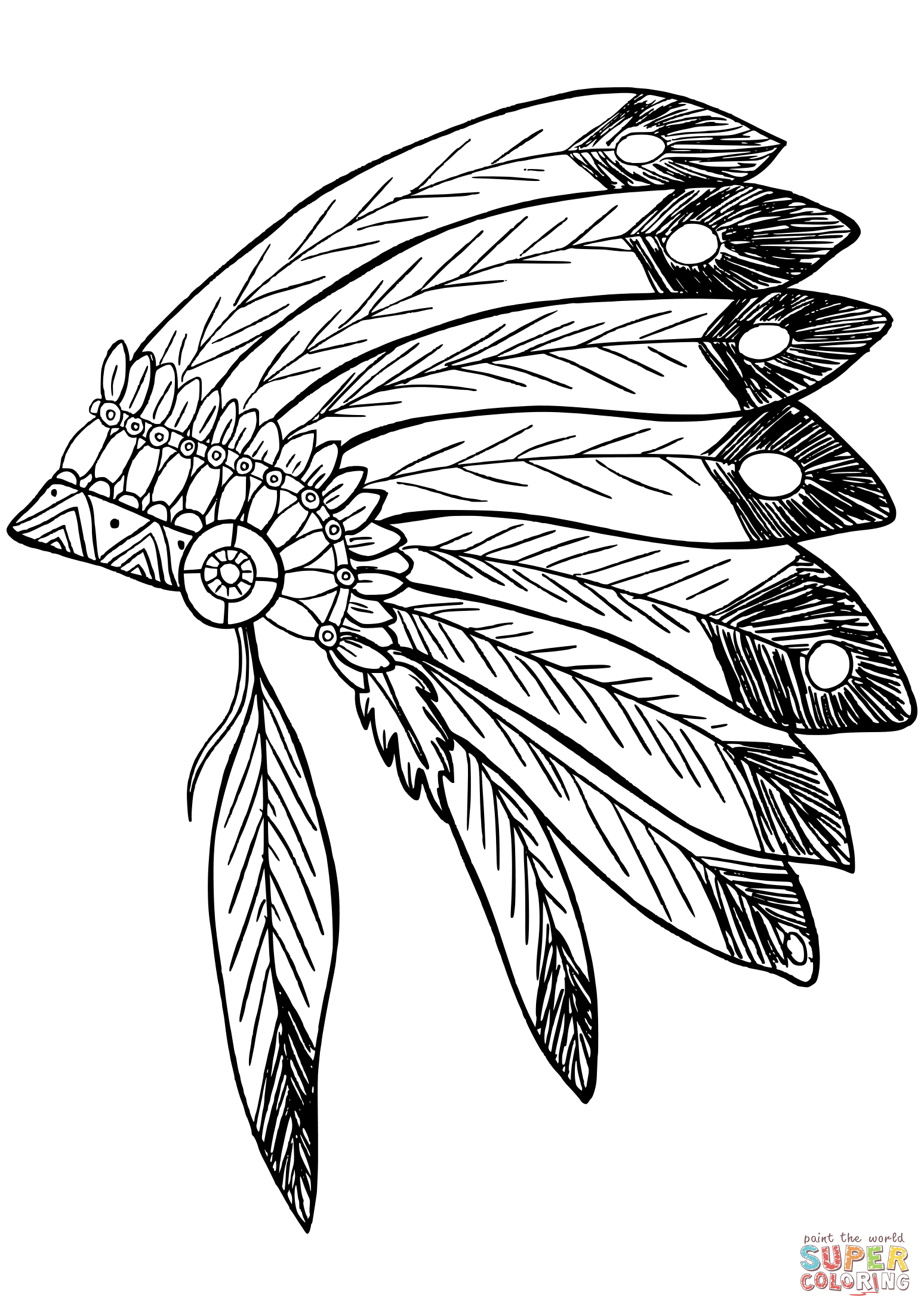 American Native Indian Feather Headress Coloring Page