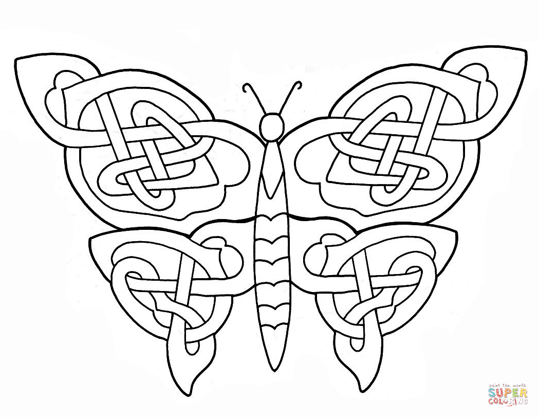 Celtic Butterfly Design Coloring Page