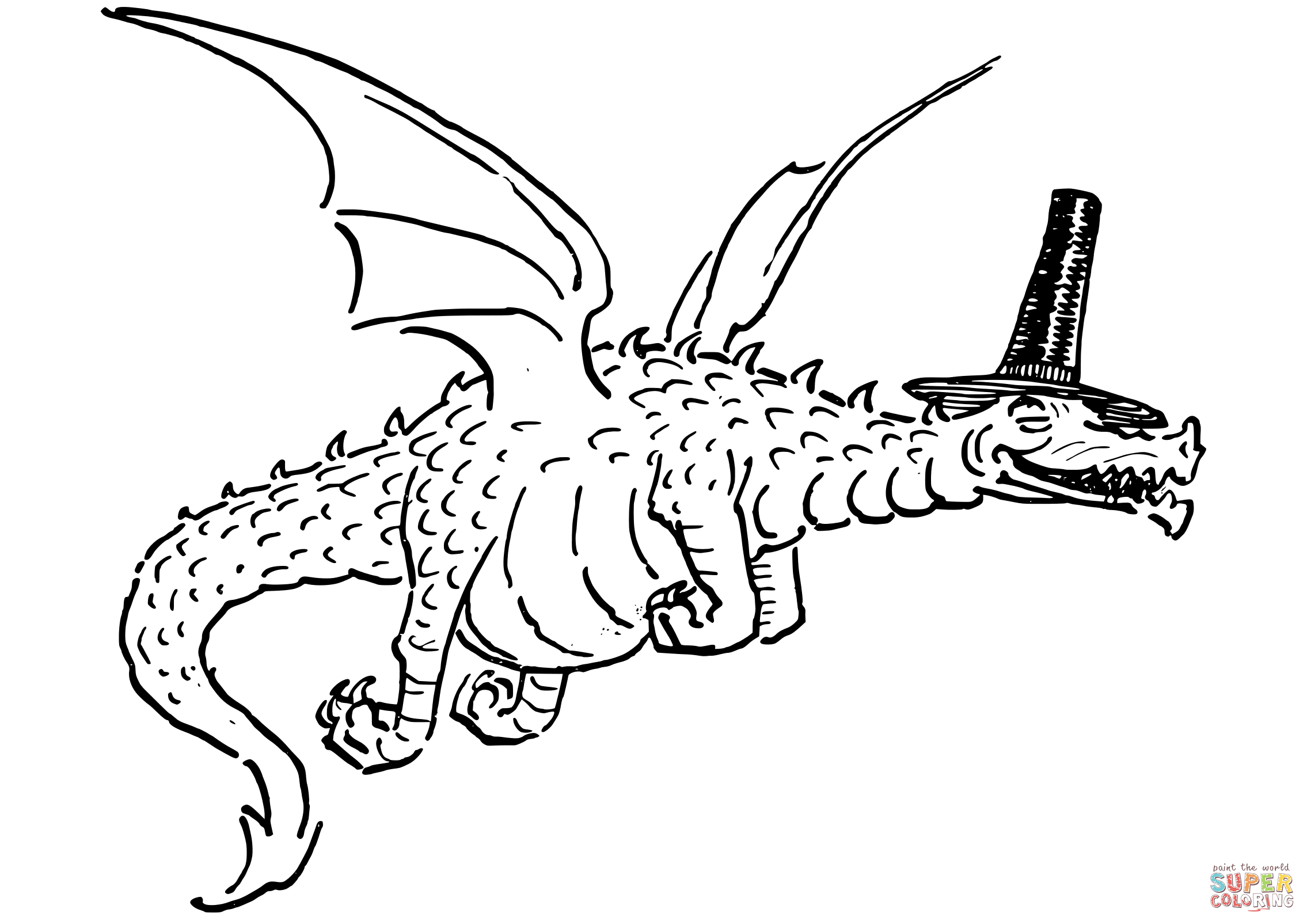 Flying Dragon With Funny Hat Coloring Page