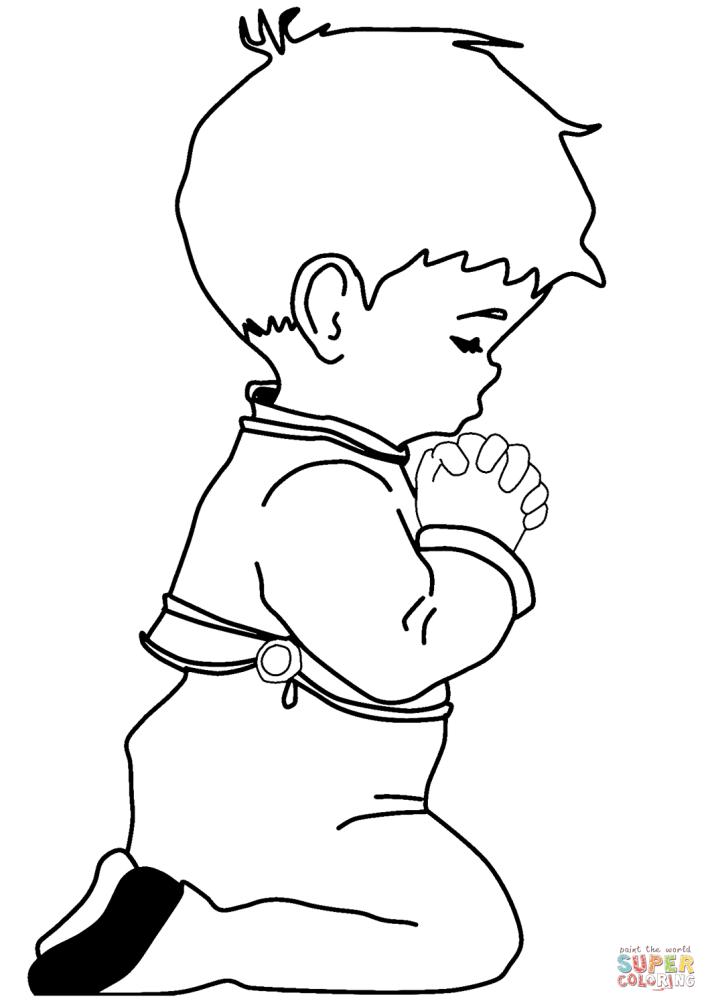 Praying Little Boy Coloring Page