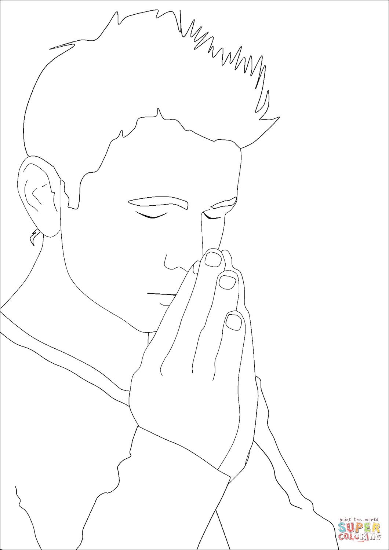 Praying Man Coloring Page