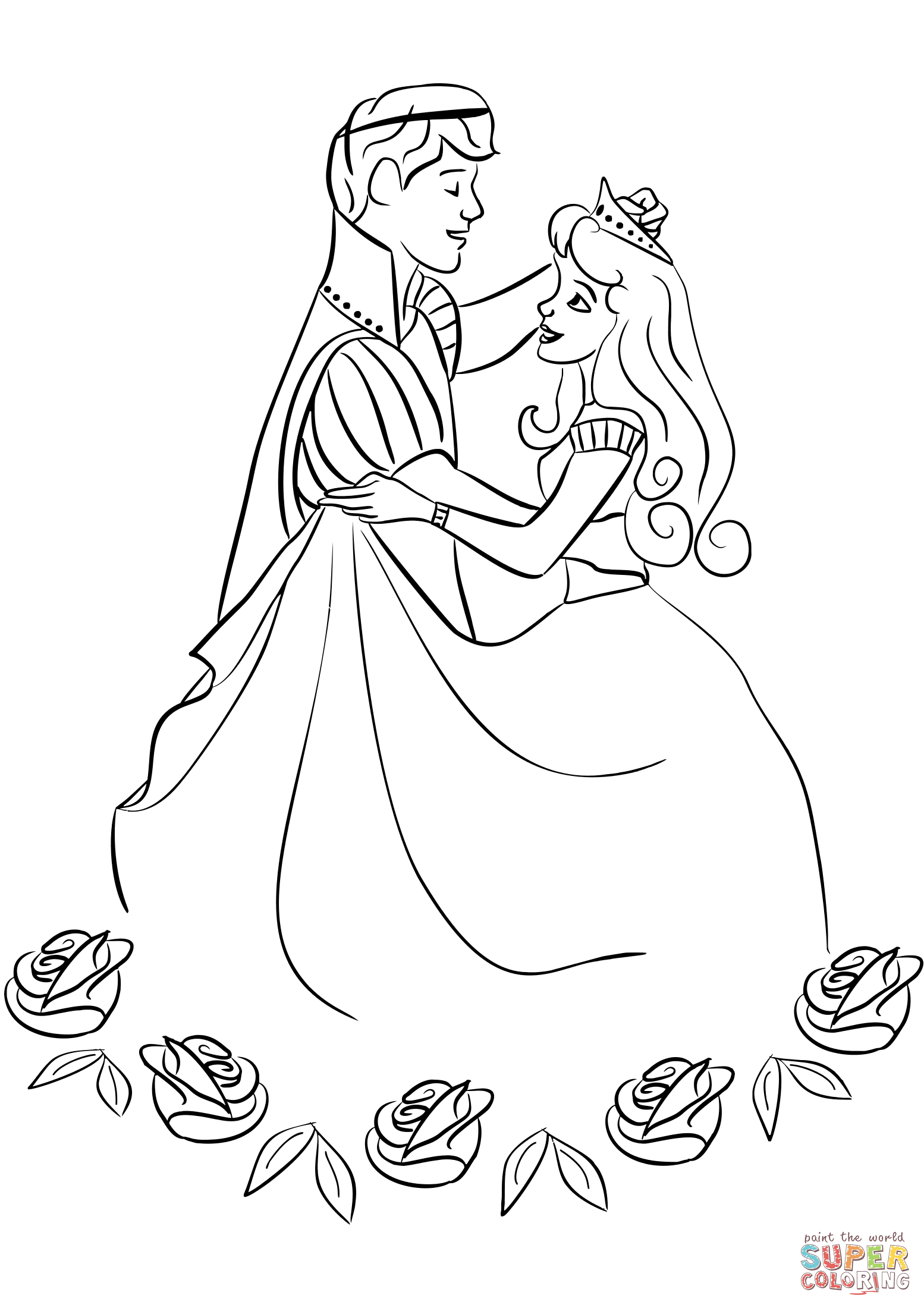 Prince And Princess Dancing Coloring Page