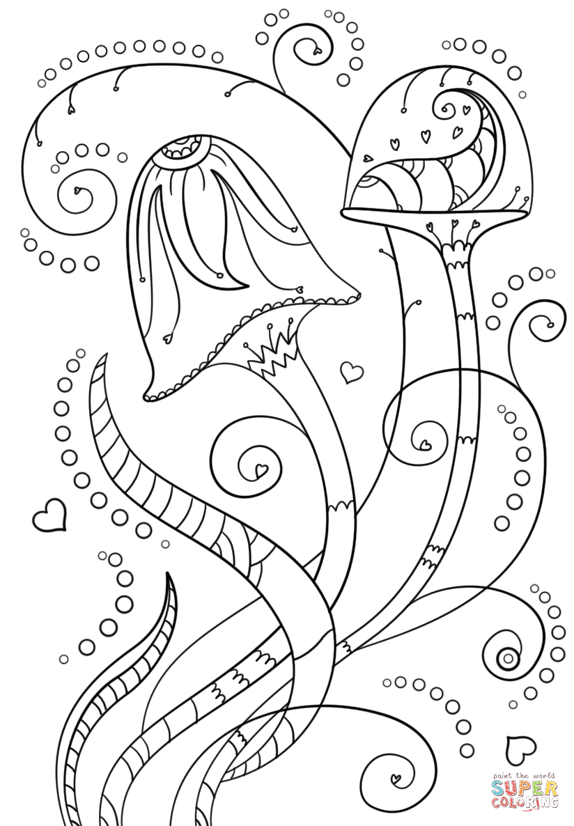 psychedelic mushrooms coloring page  free printable