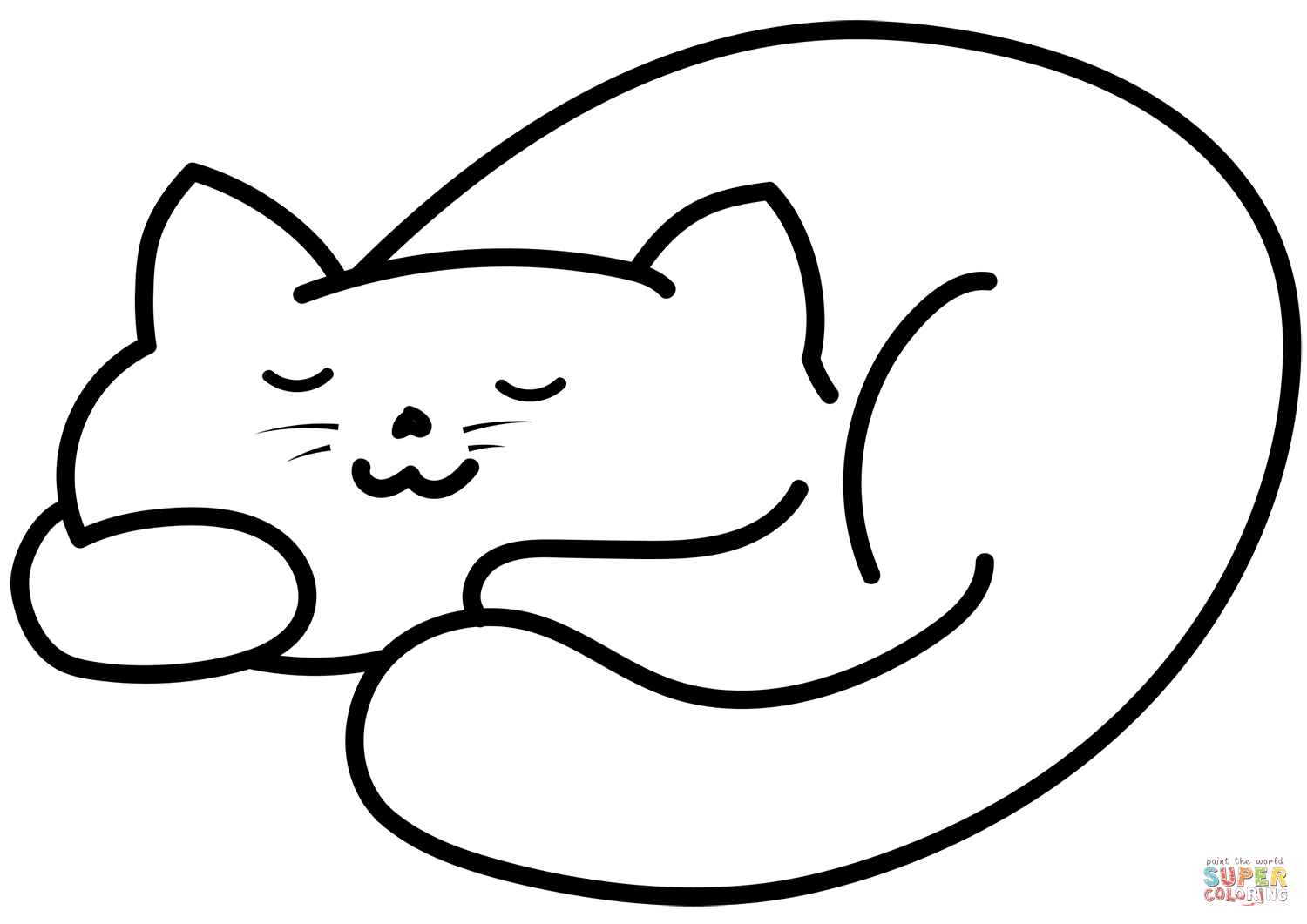 Sleeping Cat Coloring Page