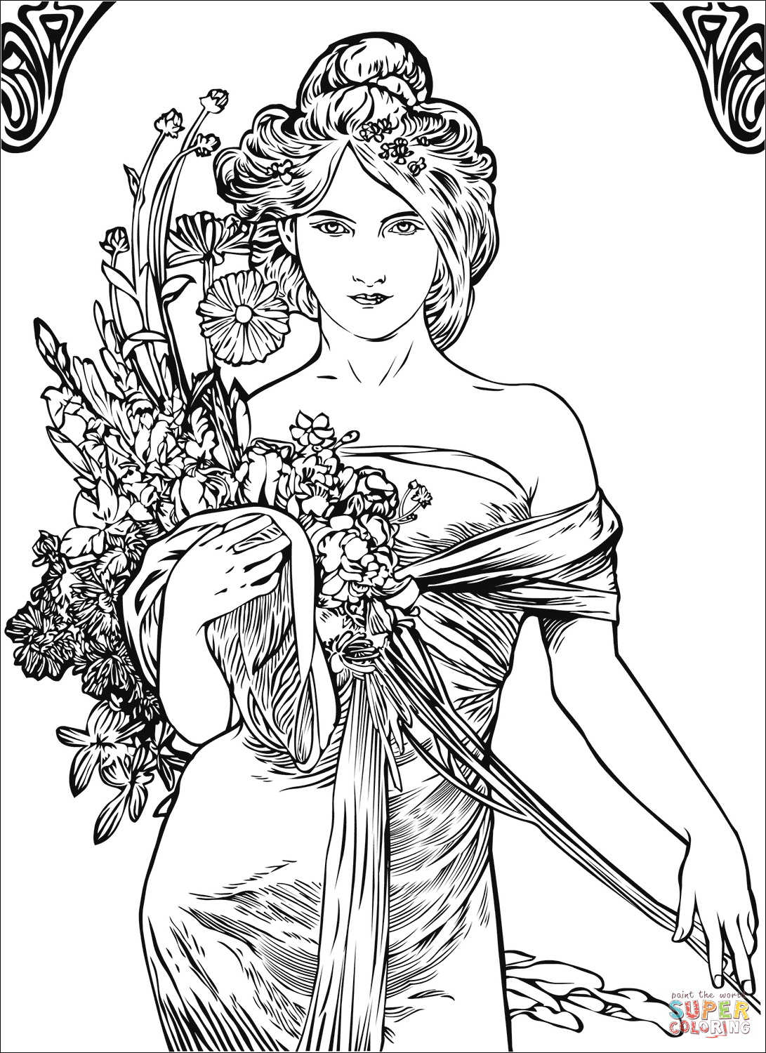 Spring By Alfons Mucha Coloring Page