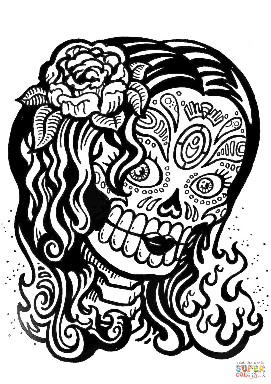 Sugar Skull Girl Coloring Page