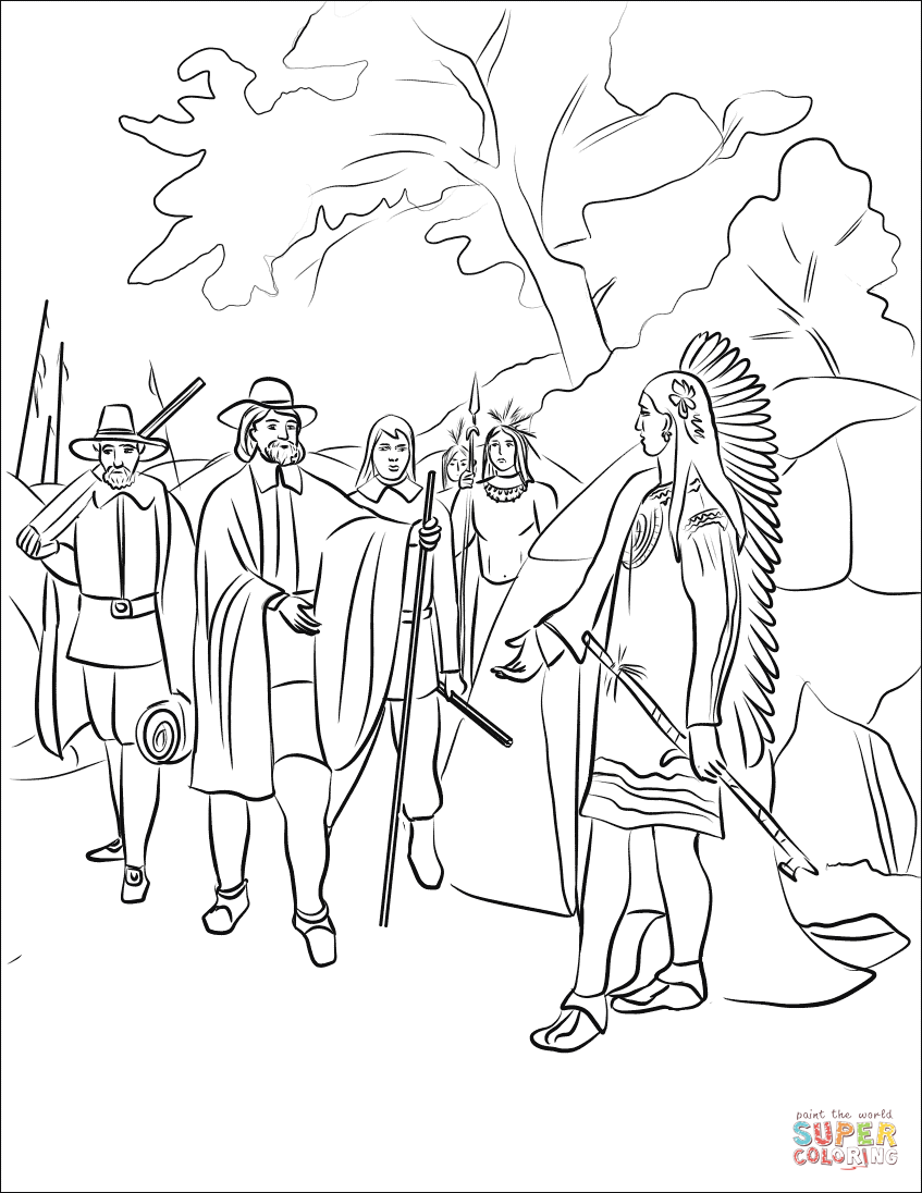 Coloring Indian Pilgrim Pages And
