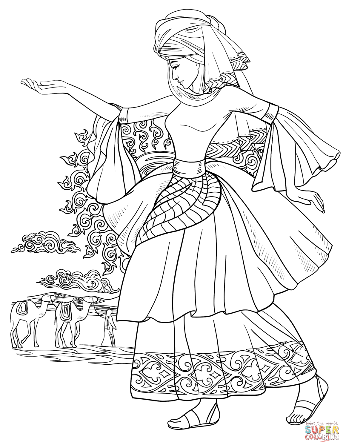 Flamenco Girl Coloring Page Home Sketch Coloring Page