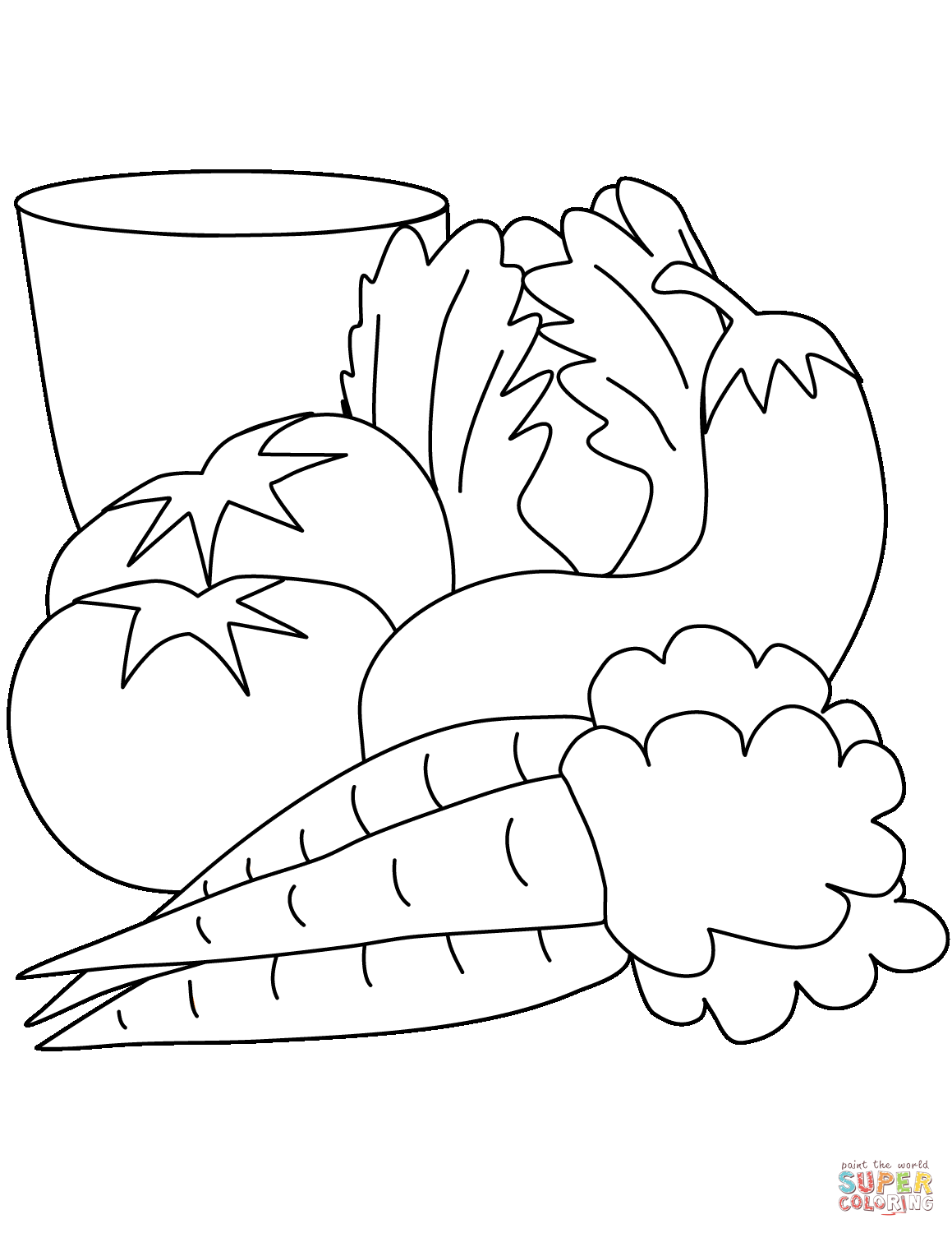 Carrots Tomatoes Eggplant And Salad Coloring Page