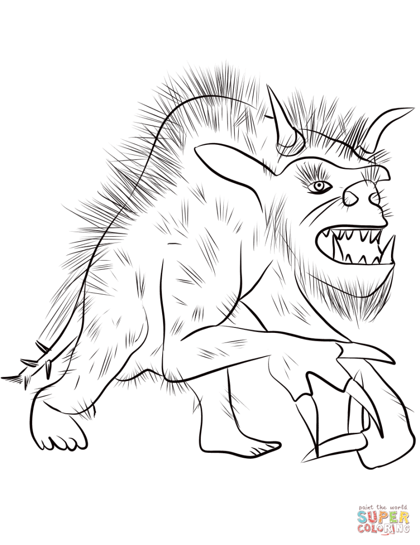fantasy werewolf coloring page  free printable coloring pages