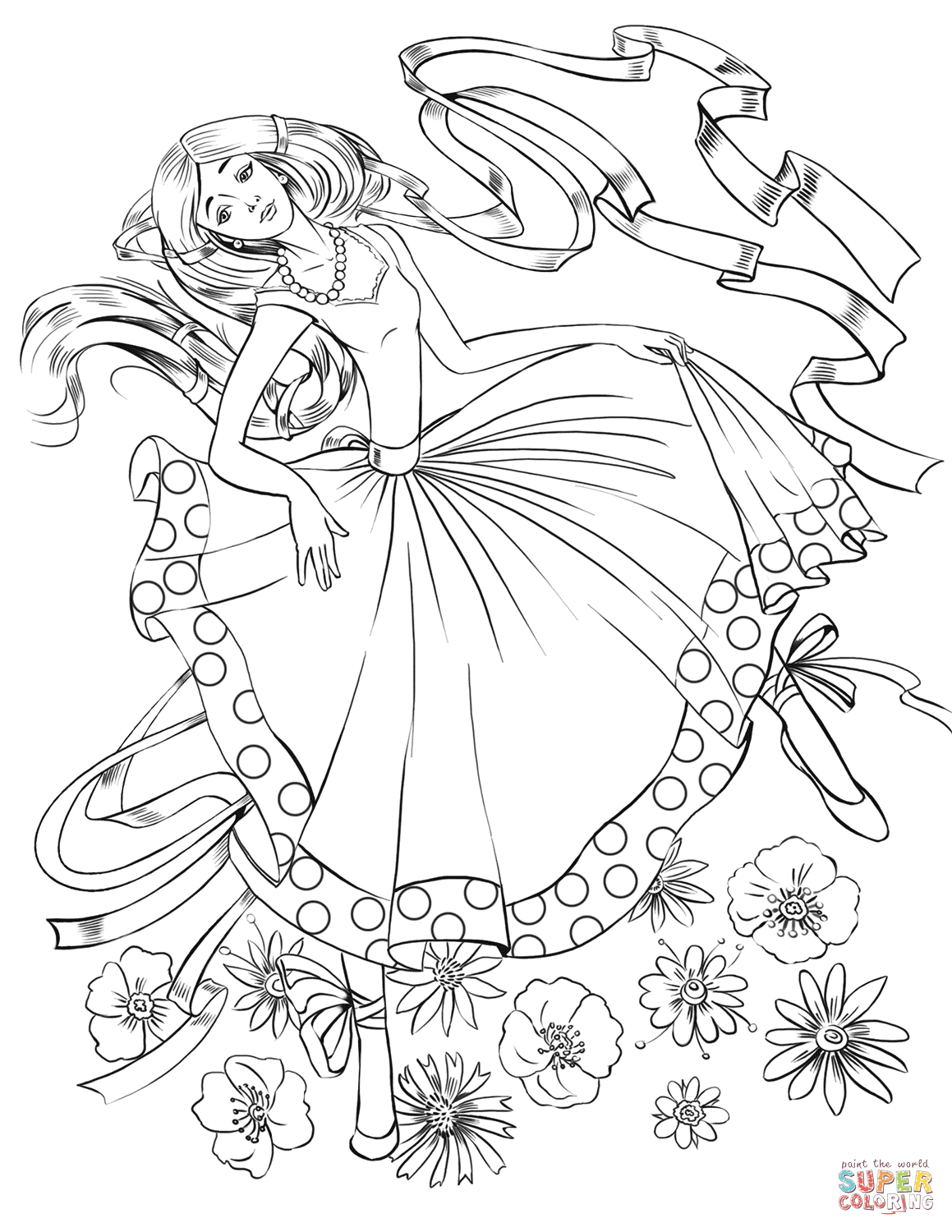 Girl Dancing With A Ribbon Coloring Page