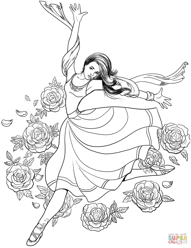 Gymnast Woman Dancing coloring page  Free Printable Coloring Pages