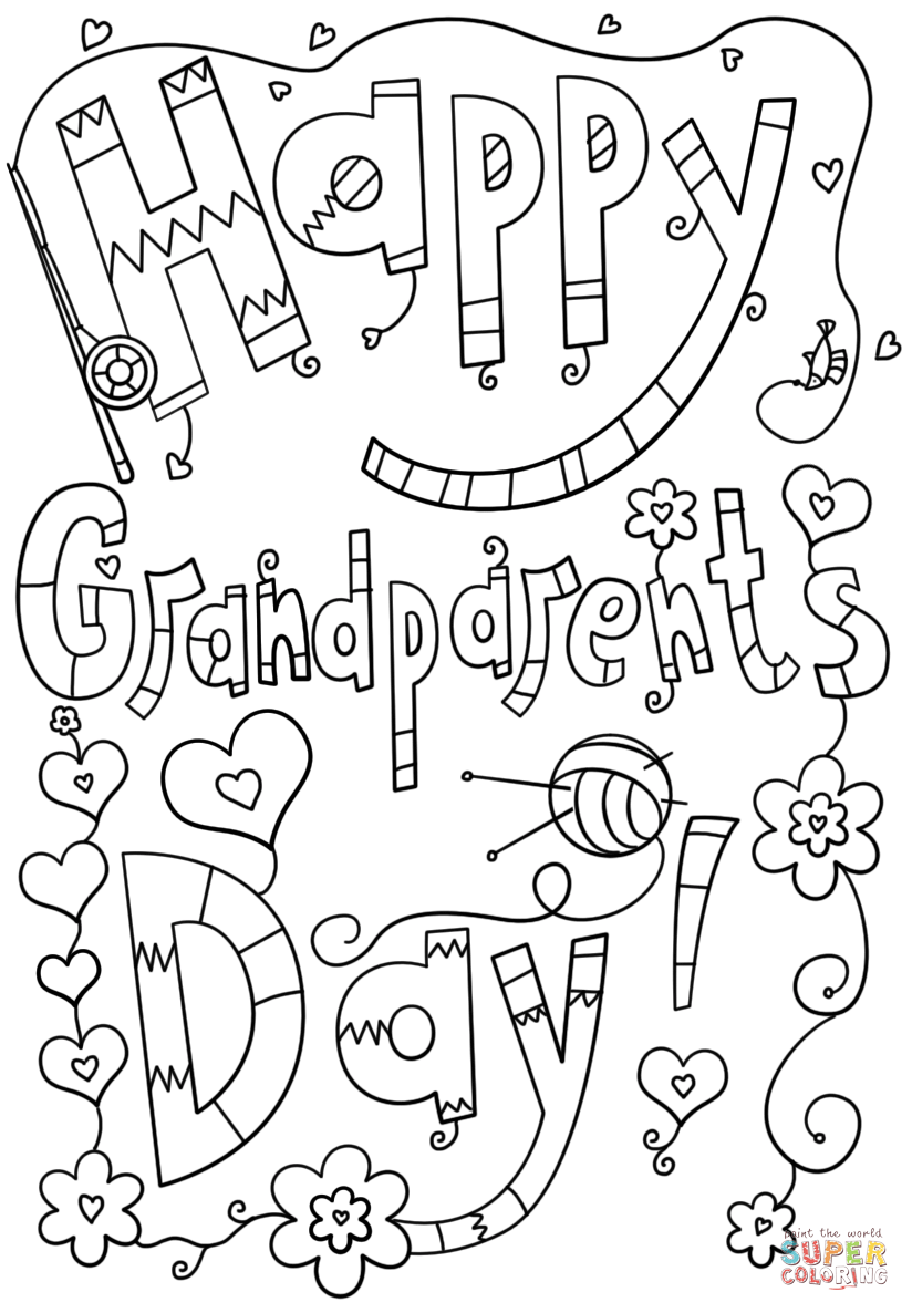 Free Coloring Pages Download : Happy Grandparents Day Doodle Coloring Page  Free Printable Of Grandparents Day